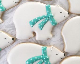 Polar Bear Cookies - One Dozen  Decorated Sugar Cookies