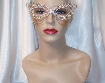 Crystal Masquerade Mask, Rhinestone Mask, Gold Metal and Crystal Mask, Wedding Mask, Mardi Gras Mask, Masquerade Mask