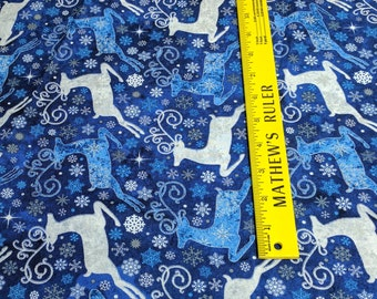 Stonehenge-Reindeer Prance-Reindeer on Dark Blue Cotton Fabric Designed by Deborah Edwards for Northcott Studios