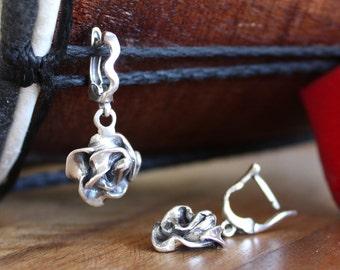 Roses Sterling Silver 925 Earrings Dangle Earrings Everyday Women's Earrings Flower Earrings Rose Jewelry Nature Inspired Handmade earrings