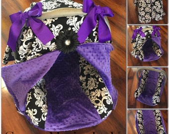 Black And White Damask Purple Minky Car Seat Canopy Set With Cover