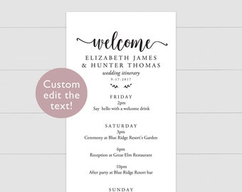 Wedding Weekend Itinerary Template Printable PDF | 3.75x10 Instant Download | Editable schedule of activities festivities events welcome