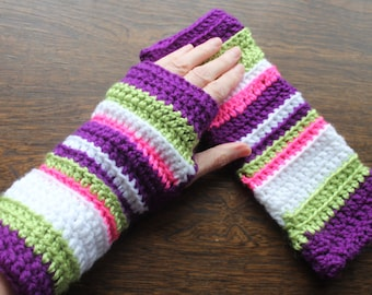 Fingerless Gloves wrist warmers hand made in Australia. Warm hands, fingers free. Bright colors - Purple lime pink!