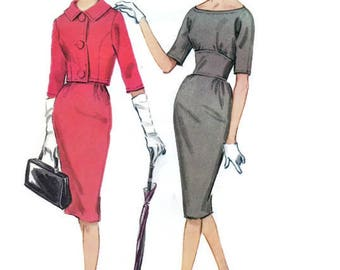 McCall's Sewing Pattern 1960s Women's Dress Retro Jackie O Style Suit Wiggle Dress Cropped Jacket Bolero Size 12
