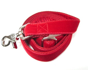 """6' Houndstown Red Swiss Velvet Leash, Adjustable Handle, Lobster Claw Clasp, 1"""" Width"""