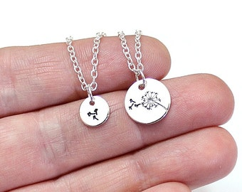 Mother Daughter, Dandelion Necklace Set, Dandelion Charm Necklace, Sterling Silver,Gift for Mothers Day,Best Friends Necklace,New Mother Gif