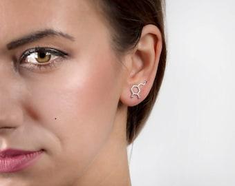 Dopamine earring, chemical element, silver jewelry, comfortable earring, ear cuff, ear climbers, minimal jewelry, minimalist earring cute