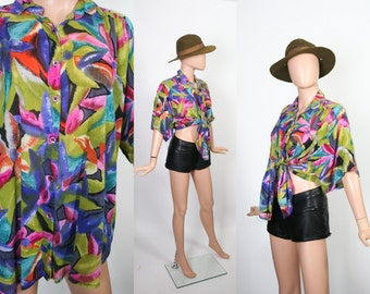 Vtg Thin Cotton Rayon Top / 90s New Wave / 1990s Festival Fashion / Surfer Grunge Shirt / Summer Blouse / Slouchy / Oversized / Open Size