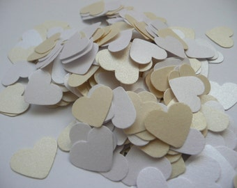Wedding confetti hearts - White - Ivory - Paper hearts - 200 die cut hearts - paper heart confetti - weddings