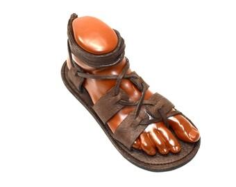 UNISEX Gladiator Sandals / Chocolate Brown Handmade Sandal Greek Roman Medieval Renaissance LARP Flat Leather Lace Up Shoes Womens Mens
