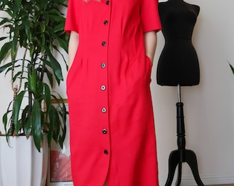 Cherry Red Button Down Midi Dress / Minimalist Shirt Dress / 80s Red Secretary Dress / sz 4