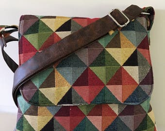 Across body , handbag ,satchel ,Ready to ship Tapestry messenger in diamond multi colours that will go with anything, handbag ,messenger bag