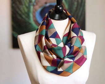 Infinity Scarf - Chiffon - Colorful Triangles