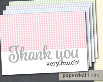 "Printable Gingham Thank You Card Instant Download - 5""x3.5"" Four Colors - Pink Blue Purple Green - Preppy Thank You Card"