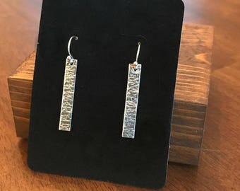 Earrings, Sterling Silver, Hand Cut and Hammered, Bar Earrings