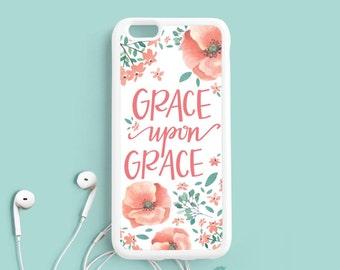 Grace upon Grace John 1:16 Bible verse Quote iPhone 7 6 plus 5s 5c 4s Case, iPhone 6 Plus Case, Samsung Galaxy s4 s5 s6 Case, Note 3 4 Qt66a