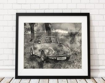 Vintage VW Watercolor Print - Volkswagen Painting - Antique Car Watercolor Painting - Watercolor VW Beetle Wall Art VW Decor Car Lover Gift