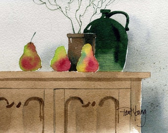 Country Cupboard-Print from an original watercolor painting