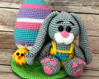 PDF PATTERN: Easter Bunny and Egg Amigurumi Scene**Crochet Pattern Only, Not Actual Doll!** Crochet Bunny