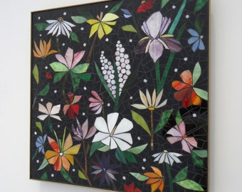 GLASS MOSAIC wall art panel hand-cut stained glass -  made to order b
