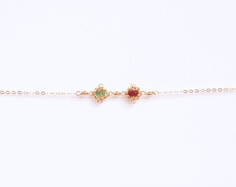 Two Birthstone Necklace - Ruby & Emerald, Personalized Birthstone Necklace, Two Birthstone Choker, Double Birthstone Necklace