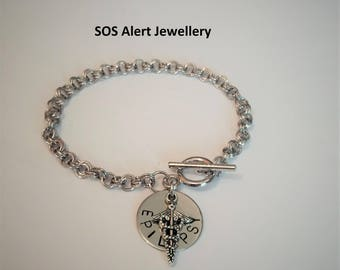 Emergency SOS Medical Alert ID Warning Charm Bracelet Choice of Conditions