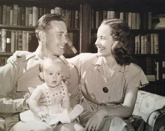 1940's Large Original Photograph Family Dad in Uniform Mom and Baby