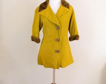 Faux Fur Trimmed 60s Jacket - LARGE - Lightweight Jacket - Vintage Jacket - 60s Coat - Vintage Blazer - Fall Jacket - Fur Jacket - Fur Coat