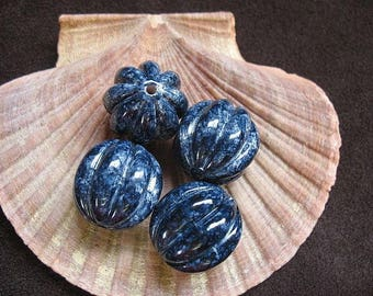 Vintage Lucite Beads Navy Blue Speckled Fluted Pumpkin Shape Pattern  22mm x 21mm - Four pieces