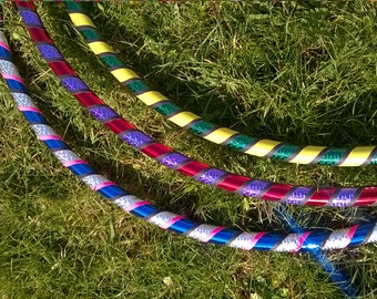 Adult Beginner Dance / Fitness Hula Hoop. 4 Stripe deco. Full size or collapsible / travel
