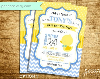 Rubber Ducky Invitations, Baby Duck Party, Rubber Duck Invitation, Birthday Invitation, Duckling Party