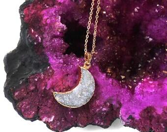 Druzy Moon Necklace - Crescent Moon Druzy - I love you to the moon and back Necklace - Crescent Moon Necklace Bridesmaid Gift Girlfriend