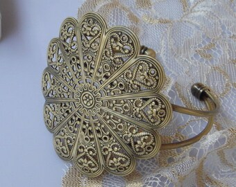 2pcs Antique Brass Large Filigree Cuff - Bracelet. Antique Brass