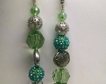 Fan / Light Pull Pair - Greens and Silver - Assorted Beads