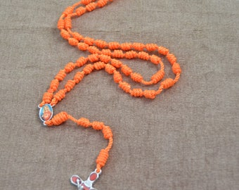Mary Sacred Heart Orange Regular Rope Rosary with Red Metal Cross and Pendent