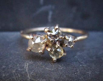 Diamond cluster ring, Unique Diamond Engagement Ring, 14k Yellow Gold, Grey Diamond ring