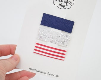 Navy, Pure White, Red Stripes | Faux Leather and Glitter Snap Clips