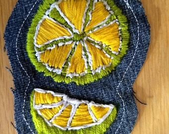 Lemon Lime Denim Patch Hand-embroidered