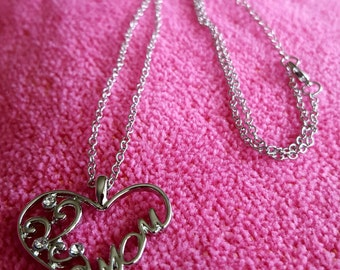 NECKLACE: Simple But Elegant Silver Chain Necklace with a Sterling Silver Heart Shaped Mom Pendant Surrounded by Rhinestones