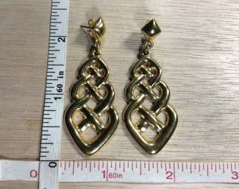 Vintage Gold Toned Celtic Knot Earrings Used