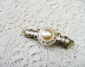 OOAK Vintage RHINESTONE Ivory PEARL Clear Rhinestone Hair Clip - bronze tone metal clip - ivory faux pearl - snap closure clip- One (1)-gift