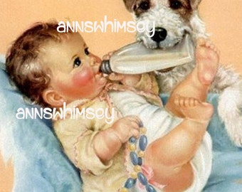 Vintage Art Print, Gift for New Baby Nursery Art Print #455