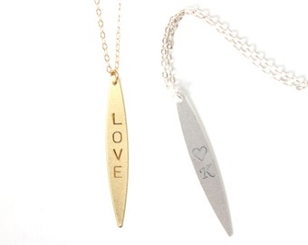 Personalised Oval Pendant Necklace Vertical Bar Necklace Long Layering Necklace Long Necklace Initial Bar Necklace Customised Necklace