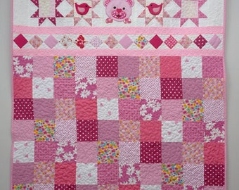 Quilt for Girls, Pink Patchwork Quilt, Nursery Bedding, Cute Teddy Bear Quilt, Toddlers Quilt, Handmade Bed Cover, Birthday Gift for Girls