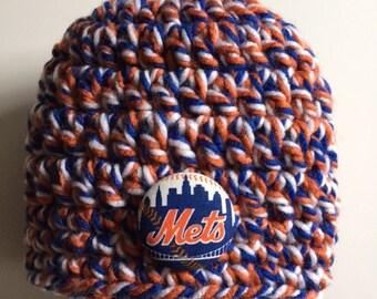 New York Mets baby hat, crocheted baby hat, Mets baby hat
