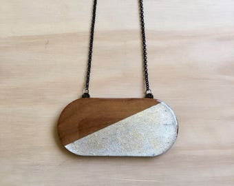 Chunky Wooden Pendant Necklace • Maple Wood and Silver Leaf • Resin • Capsule • 84mm x 40mm • Black Rolo Chain • Lobster Clasp