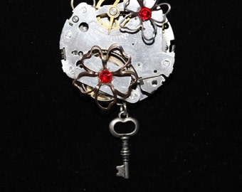 Steampunk Necklace  Watch with Flowers Red Jewels and Key  SP 19-9