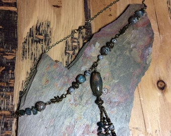 Statement Boho necklace handmade from natural stone beads and bronze findings.
