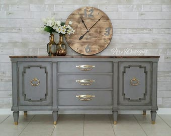 SOLD!!!! Gray Vintage, French Country Triple Credenza, SideBoard, TV Media Cabinet, Dresser