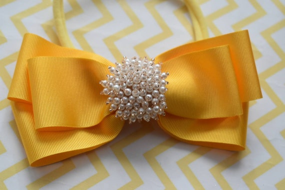 Yellow Grosgrain Ribbon Bow with pearly rhinestone - Baby / Toddler / Girls / Kids Headband / Hairband / Hair bow / Barette / Hairclip